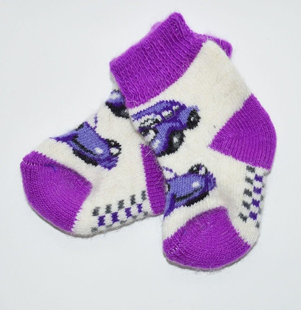 """Носочки детские (1-3 годика) """"Машина"""" бело-фиолетовый"""