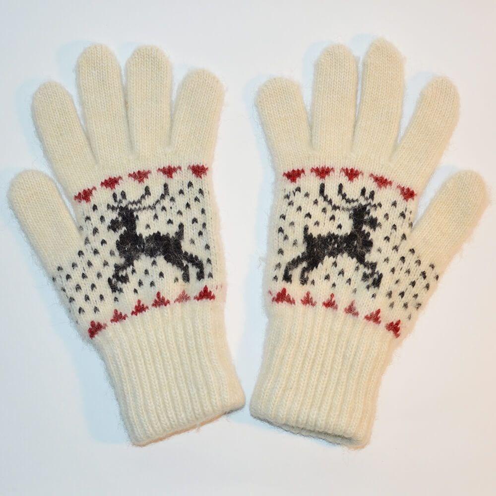 """Перчатки женские """"Олень"""" (Белые с черным рисунком и коричневыми вставками)"""