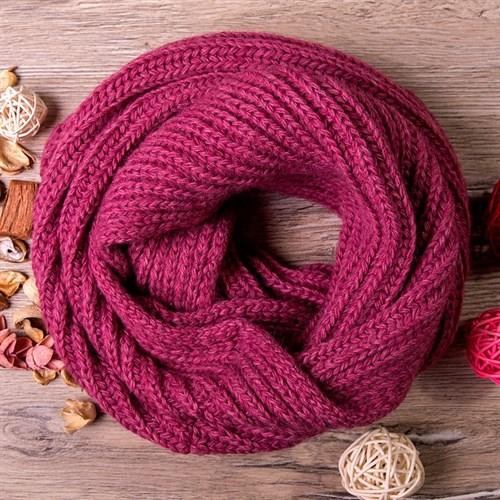 Снуд, плетение косичкой, тёмно-сиреневый - фото 7676