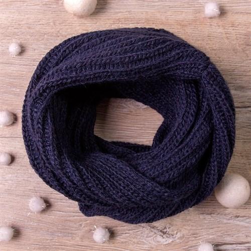 Снуд, плетение косичкой, тёмно-синий - фото 7692