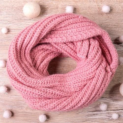 Снуд, плетение косичкой, пепельно-розовый - фото 7698