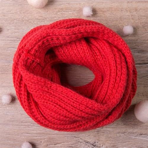 Снуд, плетение косичкой, коралловый - фото 7704