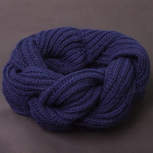 Шарф-снуд вязка косичкой темно-синий - фото 7722