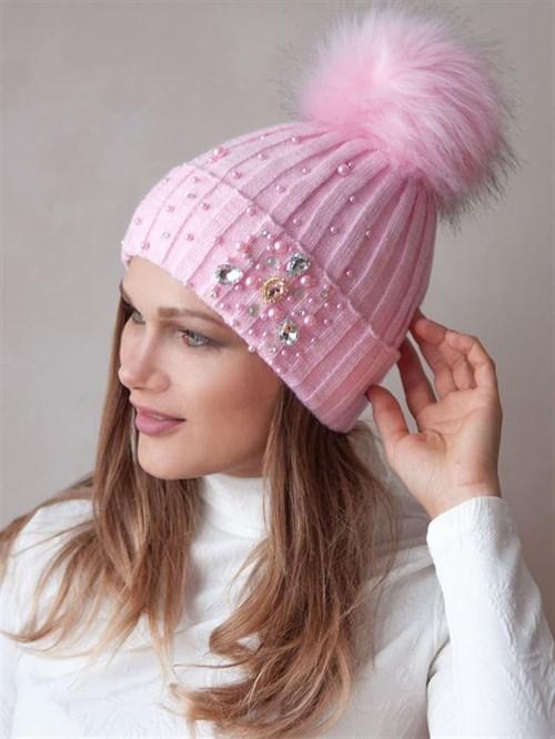 Шапка вязаная женская с помпоном, лапша, на отвороте бусины, стразы и камни, светло-розовый