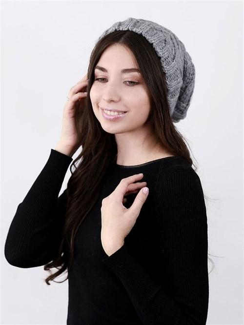 Шапка женская удлиненная, вязка елочкой, серый