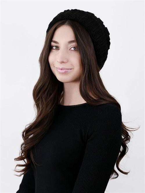 Шапка женская крупной вязки, лапша, с отворотом, черный