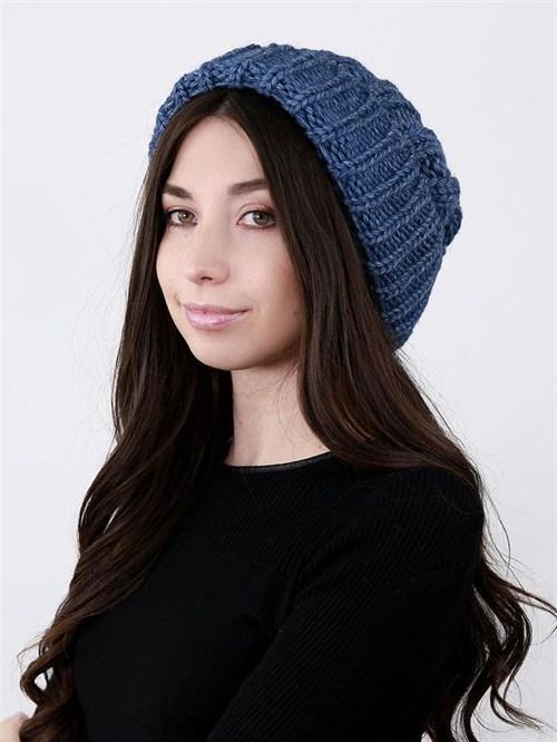 Шапка женская крупной вязки, лапша, с отворотом, синий