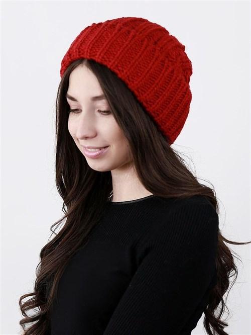 Шапка женская крупной вязки, лапша, с отворотом, красный