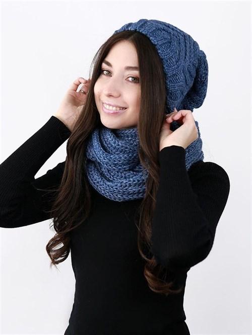 Шапка женская удлиненная, вязка елочкой + снуд крупной вязки, синий
