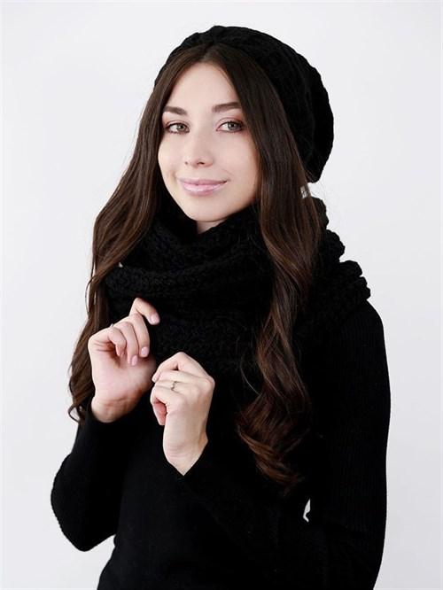 Шапка женская удлиненная, вязка елочкой + снуд крупной вязки, черный