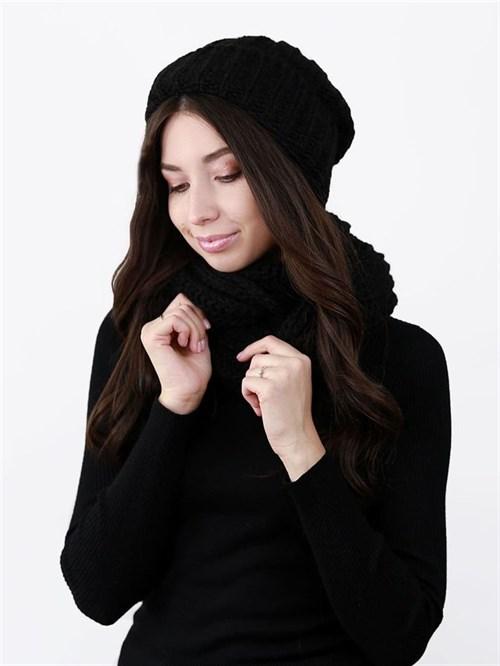 Шапка женская, крупной вязки + снуд, лапша, с отворотом, черный