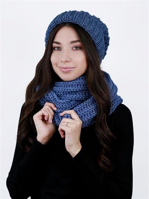 Шапка женская, крупной вязки + снуд, лапша, с отворотом, синий