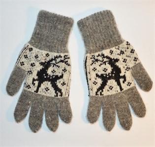 """Перчатки женские """"Олень"""" (Серые с черным рисунком и черными вставками)"""