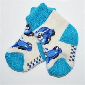 """Носочки детские (1-3 годика) """"Машина"""" бело-синие"""