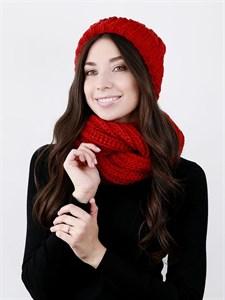Шапка женская, крупной вязки + снуд, лапша, с отворотом, красный
